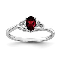Sterling Silver Garnet Double Heart January Birthstone Ring