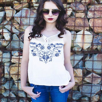 Boho Sleeveless Ivory Embroidered Top