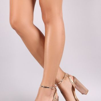 Shoe Republic LA Metallic Open Toe Ankle Strap Chunky Platform Heel