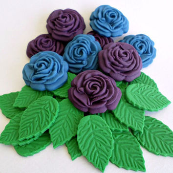 Peacock Wedding Edible Sugar Fondant Flower Roses Leaves, Cake Cupcake Topper, Summer Beach Birthday Purple Blue Party Decor - set 36