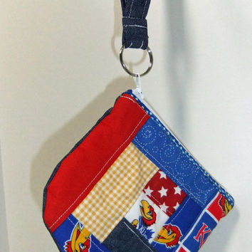 Patchwork Zip Pouch - OOAK - made using KU themed fabric