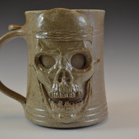 Skull Face Clay Drinking Mug -Handmade and Salt Kiln Fired