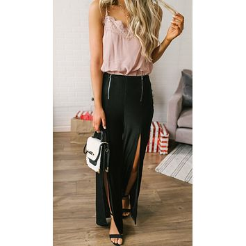 Zip Me Up Slit Zipper Palazzo Pants Black