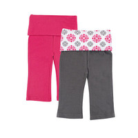 Yoga Sprout Girls 2 Pack Pink/Gray Fold Over Yoga Pants