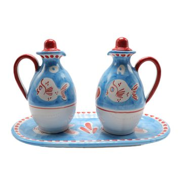 Vietri  Oil & Vinegar Bottles Set With Tray Puffer Fish Design
