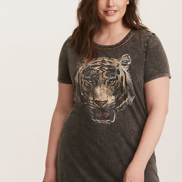 Embellished Mineral Wash Knit Tiger Tunic Tee