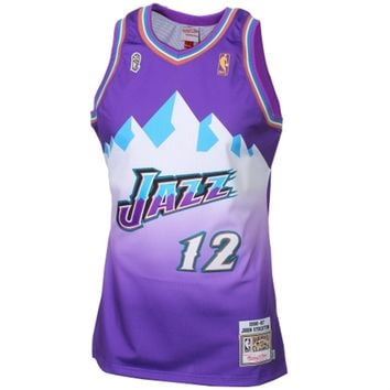 Mitchell & Ness John Stockton Utah Jazz 1996-1997 Hardwood Classics Throwback Authentic Jersey - Purple