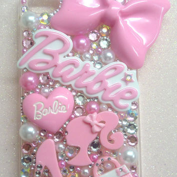 Barbie Doll Baby Pink Fit's i phone 3 4 4s 5 5s 5c 6 hard back pink cover case pink love hearts logo pink shoe lolita bow pink handbag love