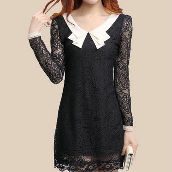 New 2016 Spring Autumn Winter Dress Women Korean Style Fashion Long Sleeve Peter Pan Collar with Lining Plus Size Lace Dress