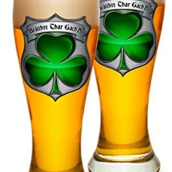 Pilsner – Police Officer Gifts for Men or Women – Law Enforcement Beer Glassware –Irish Brothrhood Police Barware Glasses Set of 2 (23 Oz)