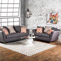 2 pc Belfield collection gray fabric upholstered Sofa and Love seat set with rounded flared arms