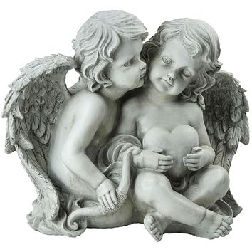 """16.25"""" Sitting Cherub Angels Holding a Heart and Bow Outdoor Garden Statue"""