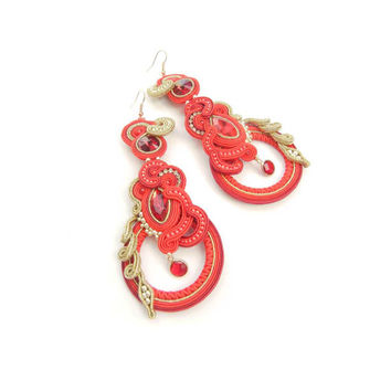 CHRISTMAS SALE 30%, Soutache Earrings, Red Gold Earrings, Handmade, Statement Jewelry, Dangling Earrings, Long Earrings, Beaded Earrings