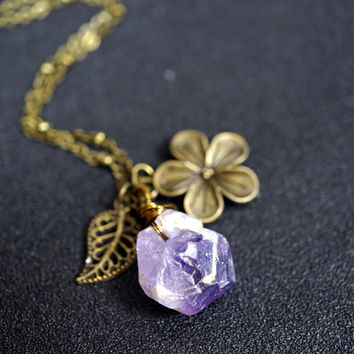 Rough Amethyst Necklace -  Wrapped Raw Amethyst Point Necklace -Bronze Leaf Flower Necklace - February Birthstone Necklace