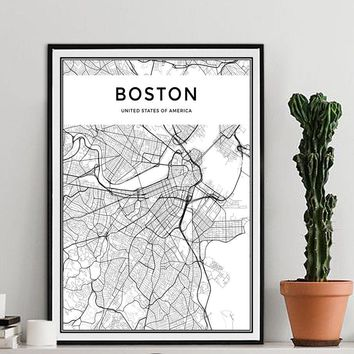 Boston City Map Modern Canvas Paintings Black White Nordic Posters Prints Wall Art Pictures For Living Room Home Decor No Frame