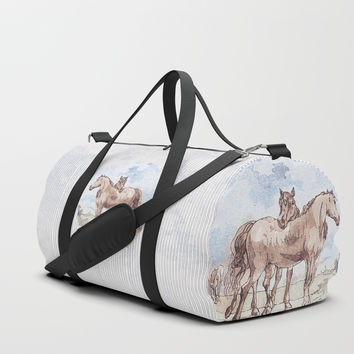 Companions - horse love Duffle Bag by anipani