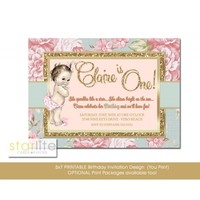 Blush Pink First Birthday Invitation, Floral Gold Glitter, any age, Vintage style Girl