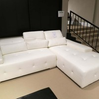 A.M.B. Furniture & Design :: Living room furniture :: Sofas and Sets :: Leather sectionals :: 2 pc Amare Collection modern styling white tufted bonded leather sectional sofa set with chaise and adjustable headrests and arms