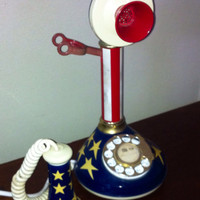 Black friday Sale Vintage Telephone Red, white and blue
