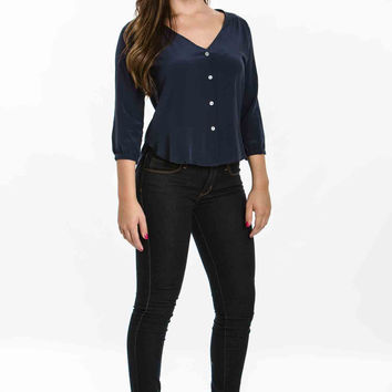 Candice Silk Shirt, Navy by Amour Vert