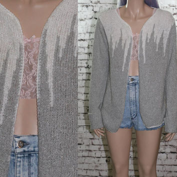 70s open front knit cardigan sweater oversize drape soft grunge hipster boho hippie festival goth pastel S M 80s grey white