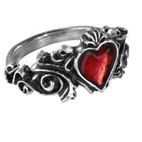 Alchemy Gothic Betrothal Red Heart Ring
