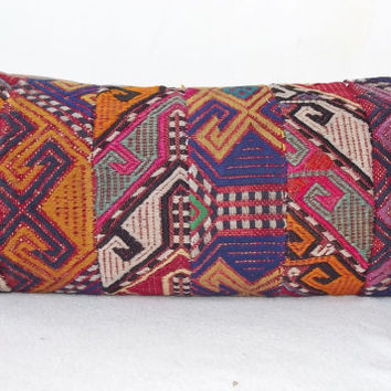 LUMBAR Turkish Kilim Pillow Cover, Decorative Patchwork  Lumbar Pillow, Throw Piillow 11.4' x 24,8  ' INCH