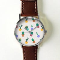 Cactus Plant Watch , Women Watches,  Leather Watch,  Boyfriend Watch, Ladies Watch, Succulent Watch, Silver Watch, Gold Watch, Rose Gold