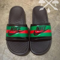 Nike Custom Gucci Red Green Pursuit 72 Benassi Swoosh Slides Sandals Flip flops