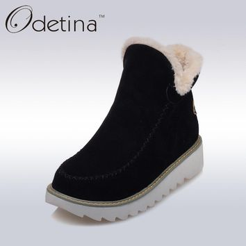 Odetina 2018 Warm Plush Platform Ankle Snow Boots Flat Women Winter Shoes Non-slip Large Size Black Suede Ladies Slip On Boots