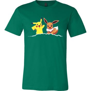 Canvas Mens Shirt Pikachu & Eevee pokemon