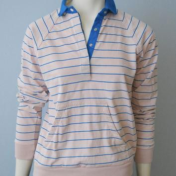Vintage 1980 S Light Pink And Blue Striped Long Sleeve Polo Rugb