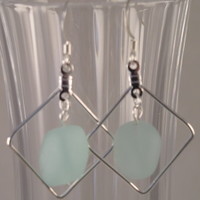 SEAE09 Pale Green Earring made of Sea Glass in a Silver Plated Frame