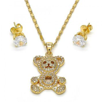 Gold Layered 10.233.0020 Necklace and Earring, Teddy Bear Design, with White Micro Pave, Polished Finish, Golden Tone