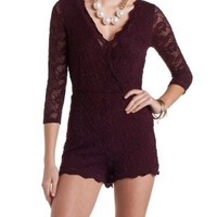 Surplice Neck Scalloped Lace Romper by Charlotte Russe - Oxblood