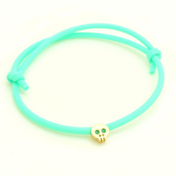 Mint and Gold Skull Bracelet  Rubber Bracelet W/ Tiny by minifabo