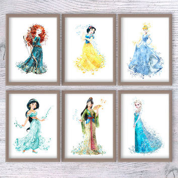 Disney princesses set of 6 Disney watercolor print Disney princess art poster Girls room decor Kids room wall art Nursery room decor V125