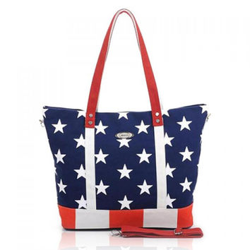 Stylish Casual Rivets and Flag Pattern Design Women's Shoulder Bag