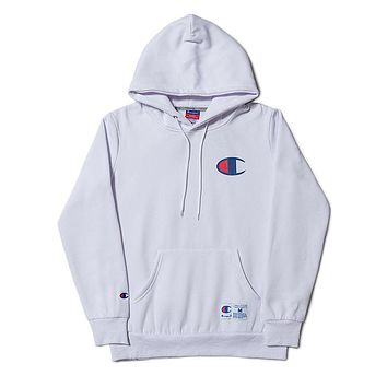 Champion tide brand men and women large C embroidery hooded loose hooded sweater white