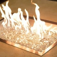Rectangular Crystal Fire Pit Burner