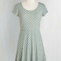 Vintage Inspired Short Length Short Sleeves A-line Is That All You Dot? Dress in Sage
