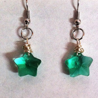 Little light green Swarovski crystal star earrings