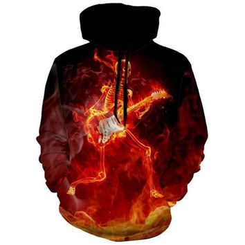 Electric Guitar Skeleton On Fire Playing The Guitar  Unisex Hoodie Sweater