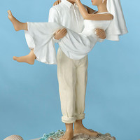 Beach Wedding Couple Figurine Cake Topper