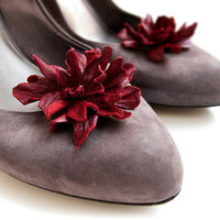 Dark Red leather flower Shoe Clips
