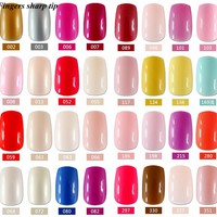 24 Pcs/set Fashion beautiful long fake nails, pure color nails a variety of color options