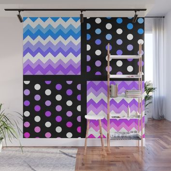 Multi-Color Gradient Chervon/Polkdot Pillow 1 Wall Mural by ganenethegriffox