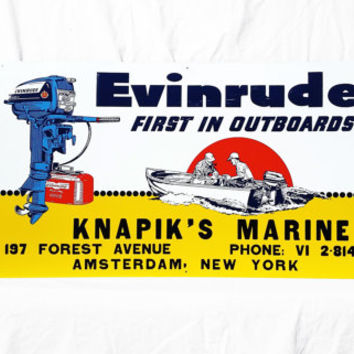 Vintage Marine Sign, Evinrude Boat Motor Marina Dock Advertisement; Industrial Beach Decor