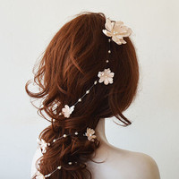 Bridal Hair Vine, Wedding hair vine, Flower hair vine,  Long Flower hair vine, Bohemian bridal headpiece