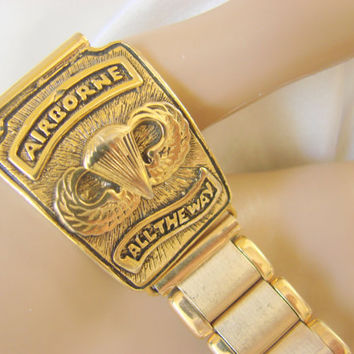 1980s Kiefer-Cadman Airborne 14K Rolled Gold Watch Band /  Western Germany / Mens Vintage Jewelry / Jewellery